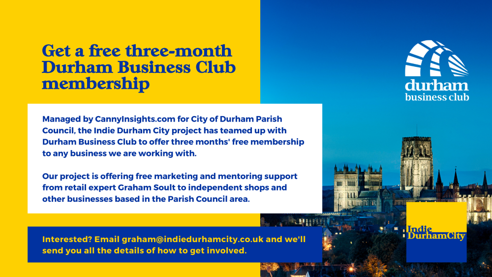 Get a free three-month Durham Business Club membership with Indie Durham City