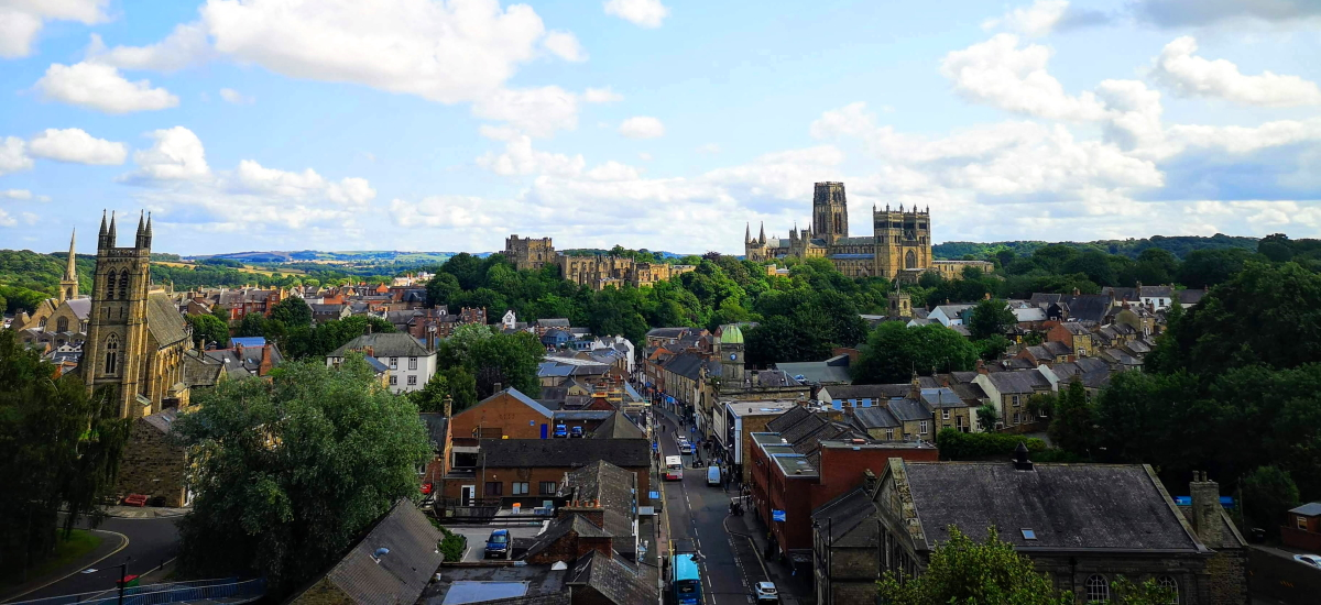 Durham city skyline from the viaduct. Photograph by Graham Soult
