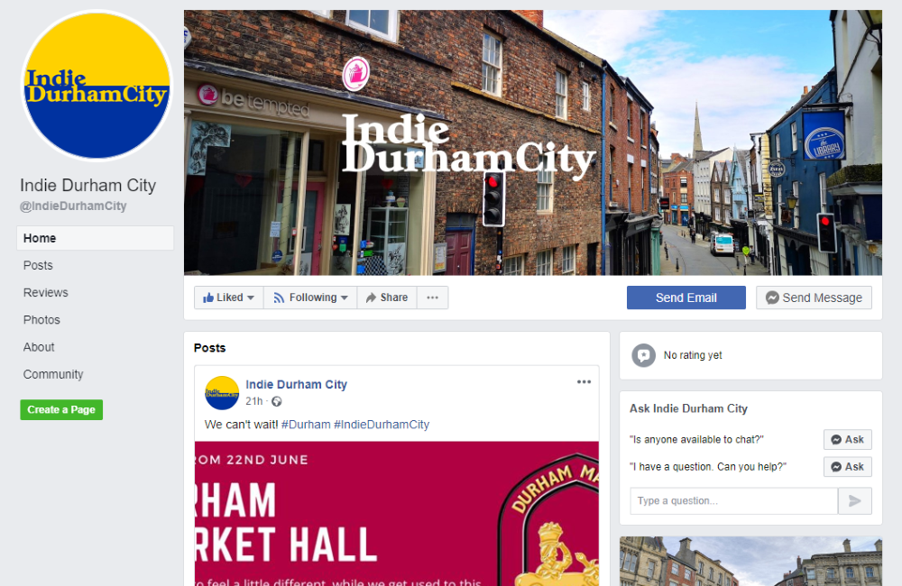 The @IndieDurhamCity Facebook page